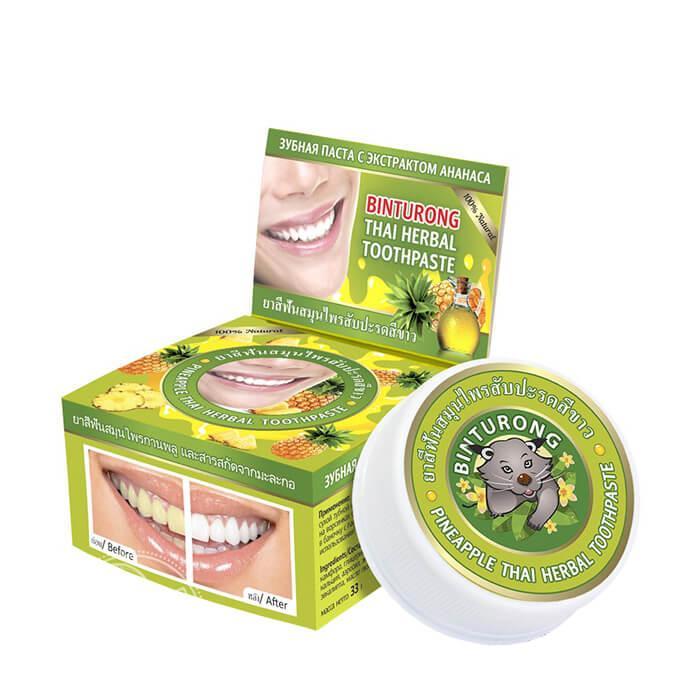 Тайская зубная паста с ананасом Binturong Pineapple Thai Herbal Toothpaste (33 мл)