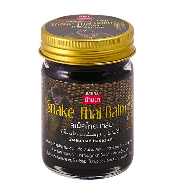 Черный Змеиный бальзам Snake Thai Balm с эфирными маслами, Banna (50 г)