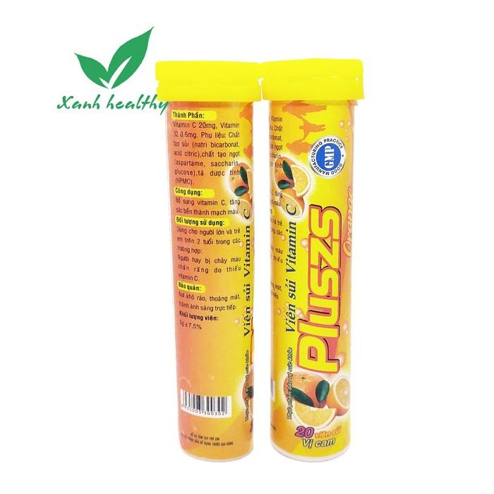 Шипучий витамин C Pluszs Orange с апельсиновым вкусом, Duoc Pham Dai Y (20 табл.)