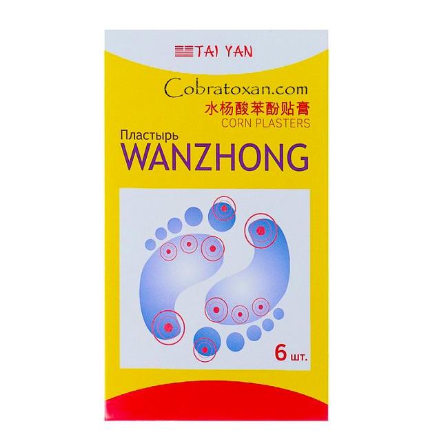 Натуральный антимозольный пластырь Wanzhong с салициловой кислотой, Tai Yan (6 шт.)